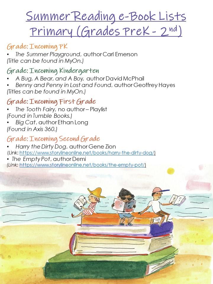 Summer Reading List - PK thru 2nd